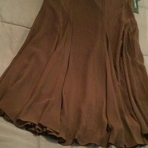 Dresses & Skirts - ELEGANT RALPH LAUREN BROWN SILK SKIRT NWT SIZE 8